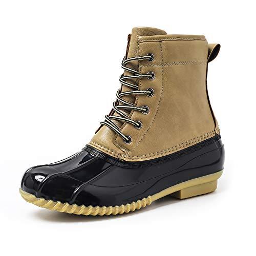 Housking Women's Winter Duck Boots, Outdoor Waterproof Mid Calf Rain Booties with Warm Fur Khaki