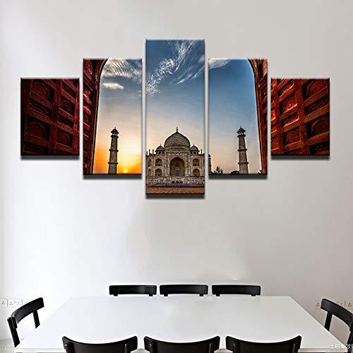 WOKCL Canvas Schilderij Art Poster Muurfoto Home Decor 5 Panel Indian Taj Mahal Print Op Doek Voor Woonkamer Moderne Druktype, Geen Frame