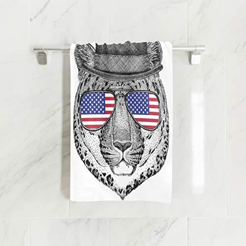 Emoya Toalla Pantera con Sombrero y Gafas con Bandera de EE. UU. Toallas de Mano para baño 38 x 76 cm