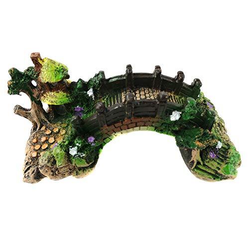 Surakey Aqua Ornaments,Aquarium Deko Höhle Aquarium, Aquarium Deko Ornamentdas, dekorative Landschaft Brücke landschaftlich gestaltet Baumstamm Holz Polyresin Landschaft