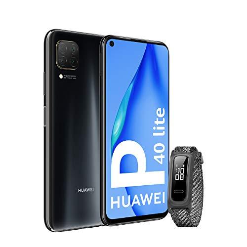 """HUAWEI P40 Lite - Smartphone 6.4"""" (Kirin 810, 6GB RAM,128GB ROM, Cuádruple cámara, Carga Rápida de 40W, Batería de 4200mAh) Negro + Band 4e, Gris [Versión ES/PT]"""