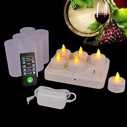 HL Flameless uppladdningsbara värmeljus, flimrande LED-ljusljus, 72±5 timmar körtid med bröllopsdekorationer med fjärrkontroll och tidtagning (Amber, 6-pack)