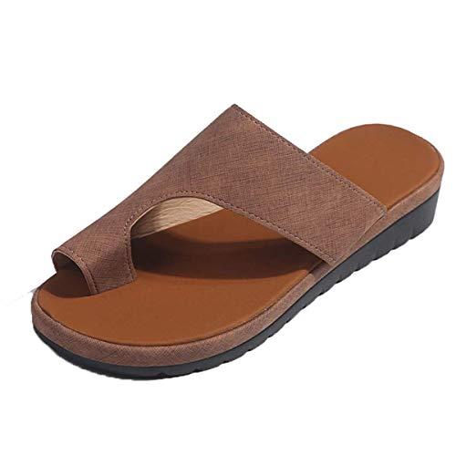 Sandalias para mujer Flips Flops Cómodas zapatillas de plataforma Cómodas señoras Verano Playa Corrector juanetes ortopédico Resbalón en cuña Zapatos antideslizantes casuales Caqui 38 EU 🔥
