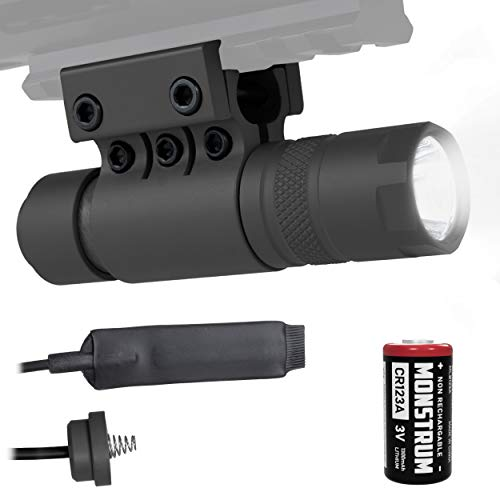 Monstrum Tactical 90 Lumens LED Flashlight with Rail Mount and Detachable Remote Pressure Switch
