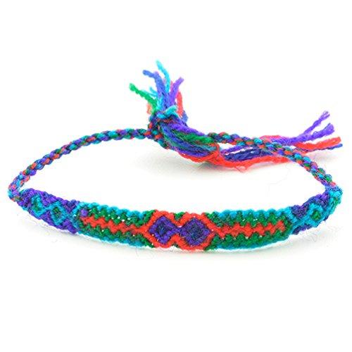 手編み ミサンガ 幅広タイプ (02)-05-07.赤×緑×水色/プロミスリング