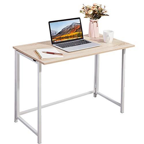 Schreibtisch, APOWE Faltbarer Schreibtisch Computertisch Bürotisch Arbeitstisch Klapptisch,Home Office Klappbar PC Tisch für kleine Räume,Büros (Eichefarbe)