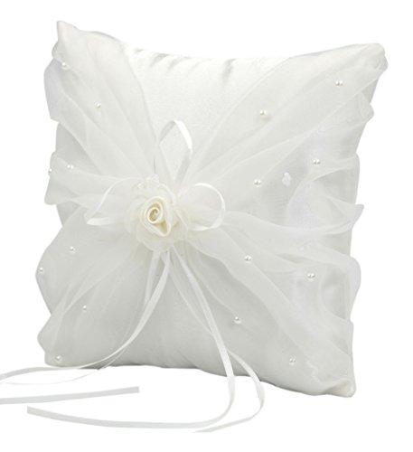 Mopec A203-Cuscino per Anelli Nuziali, Colore: Avorio, con Fiore in Organza e Perline, Confezione da 1Pezzo