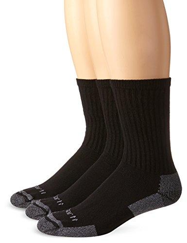 Carhartt Men's 3-Pack Standard All-Season Cotton Crew Work Socks, Black, Shoe Size: 5-10