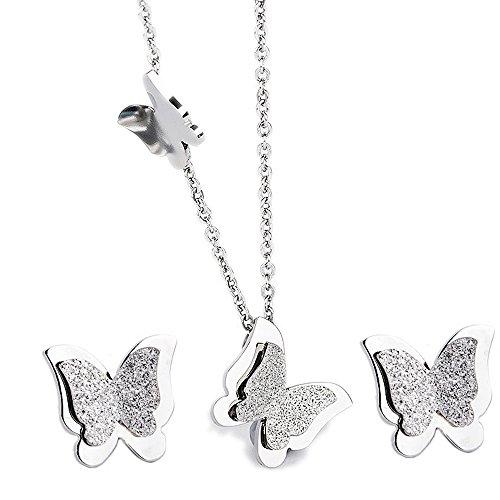 Kim Johanson Juego de joyas para mujer con diseño de mariposa, de acero inoxidable en plata, collar con colgante y pendientes, incluye bolsa para joyas