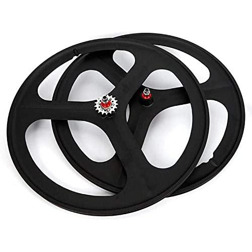 VTDOUQ Bicycle Bicycle Wheel, 700C Fixed Gear Wheels, 26'MTB Bike Mag Wheel Set 3 Spoke Rim Single Speed Front Wheel Fixie Bicycle Wheels Rail Wheel Clincher Type Bicycle Wheel, Front Wheel White