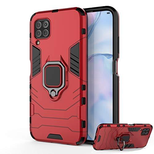 DESCHE para Funda Huawei P40 Lite (4G) / Nova 6SE Carcasa para soporte de anillo + Cristal Templado, compatible con el soporte magnético para automóvil - Rosso