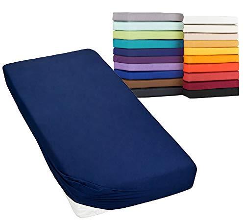 MOON Spannbetttuch Spannbettlaken auch für`s Wasserbett 160g/m² Jersey Line Green (140x200-160x220, dunkelblau)