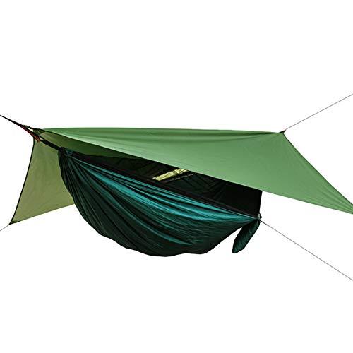 Verboden Road Hangmat Single Double Camping lichtgewicht draagbare hangmat voor Outdoor Hiking Travel Backpacking - Nylon Hangmat Swing - Ondersteuning 400 pond Ropes Karabiniers (Grijs),hammock