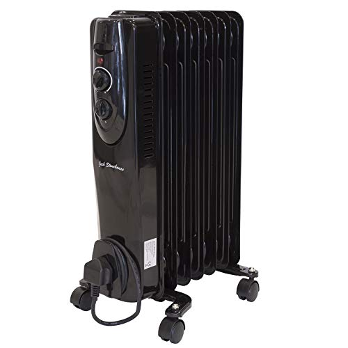 Jack Stonehouse Oil Filled Radiator 1500W/1.5KW 7 Fin Portable Electric Heater – 3 Power Settings, Adjustable Thermostat, Overheat Protection Safety Cut Off – Black, 6