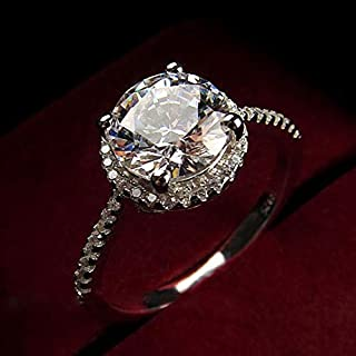 Yuren Womens Vintage White Diamond Silver Engagement Wedding Band Ring (US Code 7)