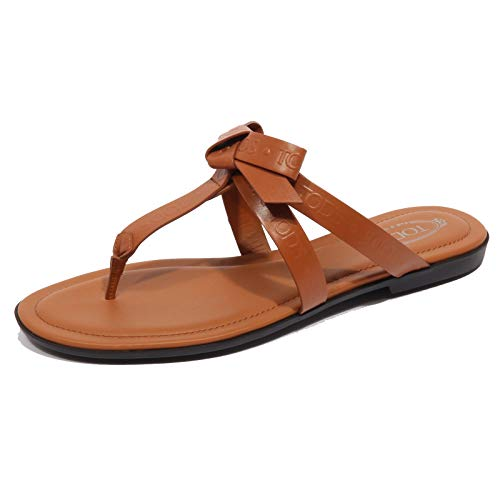 Tod's F9658 Infradito Donna Brown Sandalo Bow flip Flops Shoe Woman [39]