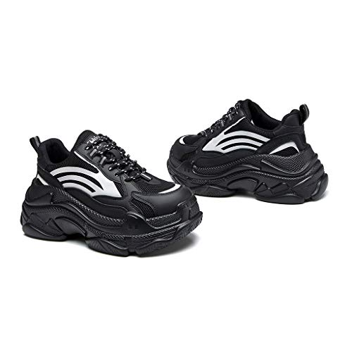 Women's sneakers Mädchen Netto-Lauf Gehtraining Bequem Fitness Atmungs Schock Turnschuhe (Color : Black, Size : 24cm)