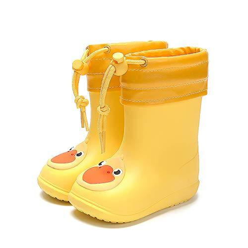 Nasogetch Dziecięce kalosze dla chłopców i dziewczynek, zimowe buty przeciwdeszczowe ze zdejmowaną ciepłą wyściółką, żółty - Żółta zima - 25/26 EU