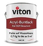 Buntlack von Viton - 0,7 kg Schwedenrot - Seidenmatt - Wetterfest für Außen und Innen - 2in1 Grundierung & Lack - HAE 30 - Farbe auf Wasserbasis für Holz, Metall & Stein - RAL 3011 Braunrot