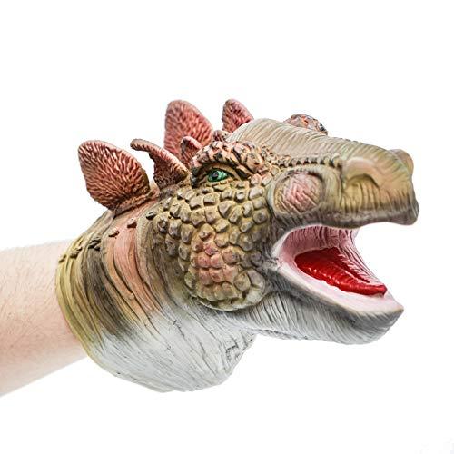 Hanzwa Dinosaurier Handpuppe Tier Spielzeug Weiches Gummi Realistischer Raubvogel Dino Stegosaurus Kopf