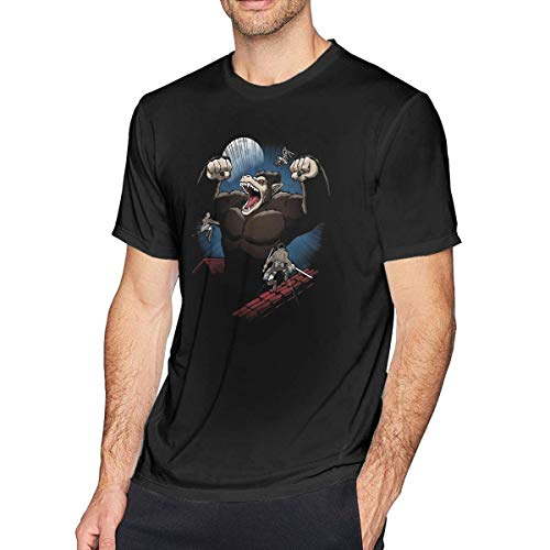 NR GuANvgITS Hombre Attack On Titan Oozaru Dragon Ball Mix Printing T-Shirt Patrón Impreso T-Shirt Negro XXXX-Large