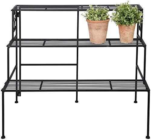 Esschert Design Etagere 3 Ebenen, aus Eisen, faltbar 78,9 x 51,5 x 65,3 cm, fünf Standfüße, Stabiler Stand, ideal für Blumentöpfe, Pflanzkästen