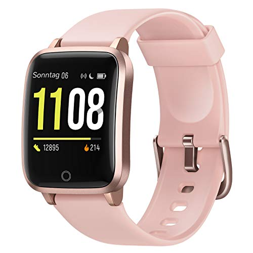 Letsfit Smartwatch, Fitness Tracker Armbanduhr mit Schlafmonitor, Heart Rate Monitor, IP68 Wassedicht Smart Watch mit Pedometer Stoppuhr, Activity Tracking für Damen und Herren(Pink)