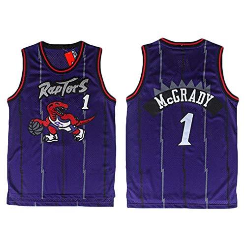 Jerseys de la NBA, Raptors 1# Tracy McGrady Classic Basketball Shirt, cómodo Ligero Transpirable Unisex Uniforme Uniforme,Púrpura,L