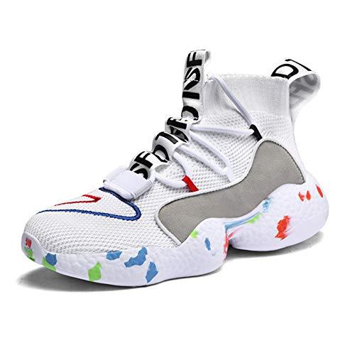 Zapatos Deportivos Casuales para Mujer Transpirables con Cordones Calcetines Altos Zapatillas de Deporte para Mujer cómodos y Antideslizantes Zapatos para Correr Ligeros
