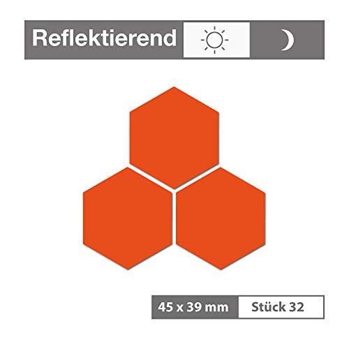 Reflektierende Aufkleber als Sechseck (32 Stück, 45x39 mm, orange) - selbstklebend und wetterfest - für Garagen, Einfahrten, Schulranzen, Zäune, Fahrräder, Motorräder - Reflexfolie Reflektorfolie