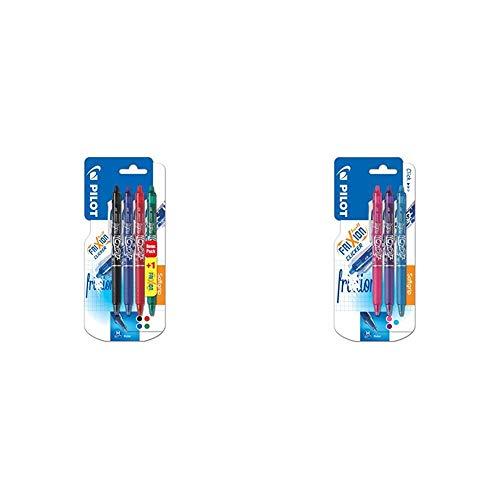 Pilot Frixion Clicker - Paquete de 4 bolígrafos de tinta gel con trazo medio, multicolor + Clicker - Bolígrafo roller de gel de tinta borrable (3 unidades), color rosa, morado y azul