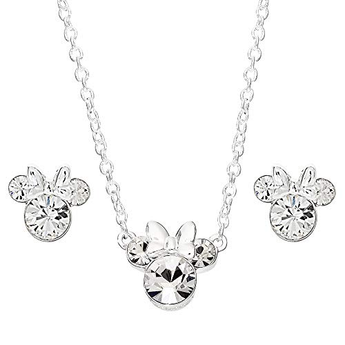 Disney Minnie Mouse Crystal Necklace and Stud Earrings and Set, Mickey's 90th Birthday Anniversary; Silver Plated Jewelry for Women
