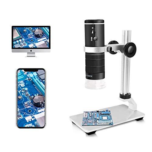 Jiusion WiFi USB Microscopio Digital HD 50 a 1000x Aumento inalámbrico Endoscopio 8 LED Mini cámara con Soporte actualizado Estuche portátil, Compatible con iOS Android Windows Mac