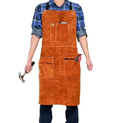 LEASEEK Leather Welding Work Apron - Heat Resistant & Flame Resistant Bib Apron, Flame Retardant Heavy Duty BBQ Apron, Adjustable One Size Fit Most - 24' X 36',Brown (Brown)
