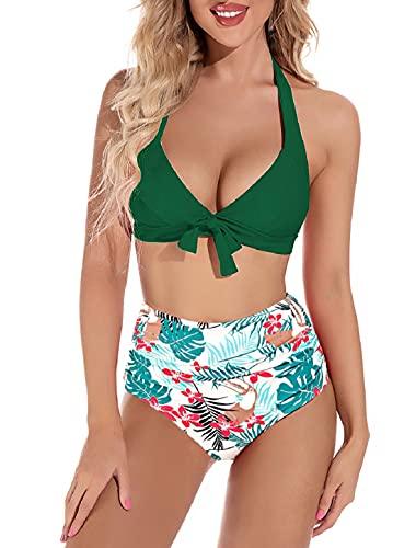 Voqeen Costume da Bagno Donna Bikini Costumi Mare da Donna Vita Alta Due Pezzi Beachwear Abiti da Spiaggia Push Up Imbottito Reggiseno Swimwear Tankini Mare e Piscina(Verde+Floreale,S)