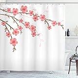 ABAKUHAUS Floral Cortina de Baño, Flor de Cerezo Ilustraciones, Material Resistente al Agua Durable Estampa Digital, 175 x 200 cm, Rosa Verde