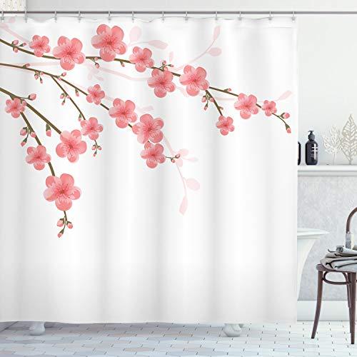 ABAKUHAUS Floreale Tenda da Doccia, Cherry Blossom Opera, Tessuto Set di Decorazioni per Il Bagno con Ganci, per la Vasca da Bagno, 175 cm x 200 cm, Rosa Verde