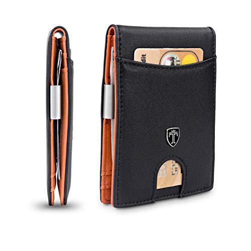 TRAVANDO Slim Wallet with Money Clip SEATTLE RFID Blocking Card Mini Bifold Men (Smooth Leather, Black & Orange)