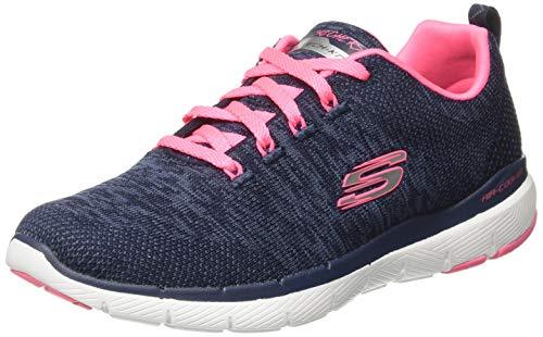 Skechers Damen Flex Appeal 3.0 Trainers, (Navy Knit Mesh/Hot Pink Trim Nvhp), 36 EU