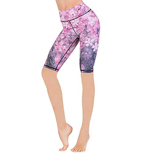 ArcherWlh Legging,Impreso Alto Cintura Hip Yoga Cinco Pantalones Femenino Ejercicio Ejercicio Ejecutar Entrenamiento Danza Hip Fitness Shorts-Mar de Flores_Metro