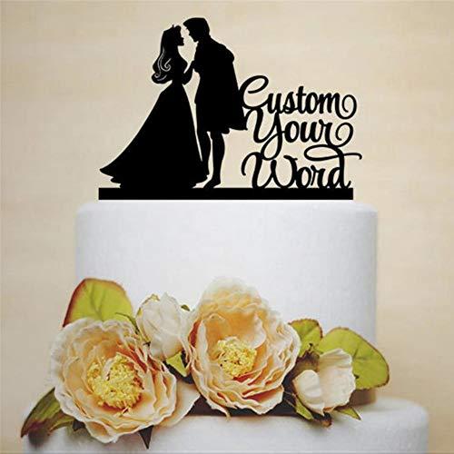 Decoración para tarta de boda personalizada con princesa Aurora princesa y príncipe especial para bodas con decoración de tarta de Mr and Mrs.