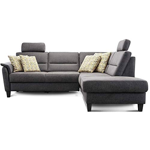 Cavadore Ecksofa Palera mit Federkern / L-Form Sofa mit Ottomanen rechts / 236 x 89 x 212 / Büffellederoptik Dunkelgrau