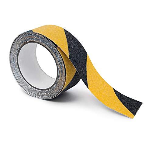 Relaxdays Anti-Rutsch-Klebeband 50 mm Rolle mit 5 m Grip Tape als Antirutschbelag für rutschfeste Treppenstufen im Innen- und Außenbereich, schwarz-gelb