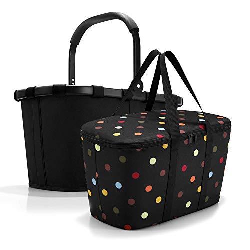 Reisenthel Set de carrybag BK + Coolerbag UH BKUH, cesta de la compra con bolsa térmica a juego, Frame Black + Dots (Negro) - BKUH