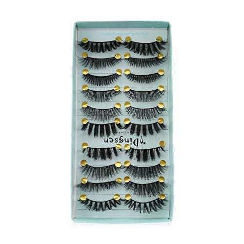 Estilos 10 Pares Mixtos 3D de imitación de visón pestañas Falsas alas del entrecruzamiento de Mullido Wispies pestañas Hechas a Mano de pestañas (Color : Mix 003)