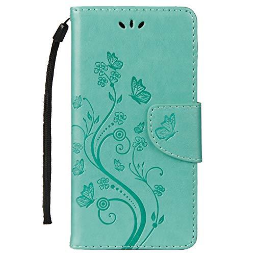 LEMORRY Handyhülle für Sony Xperia E5 Hülle Tasche Ledertasche Flip Beutel Slim Schutz Magnetisch Schließung Stehening SchutzHülle Weich Silikon Cover Schale für Xperia E5, Glückliche Gras Grün