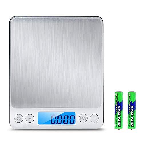 Acocodi Digitale Küchenwaage, 3000g/0,1g Taschen-Schmuckwaage, Küchenwaage mit LCD-Display, 6-Einheiten-Auto-Off-Tara-PCS Funktion Edelstahl, 2-teilige Kunststoff-Waagschale im Lieferumfang enthalten