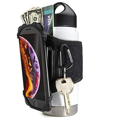 Gym Water Bottle Pouch - Water Bottle Strap 18-40oz Gym Bottles, Water Bottle Holder for Walking, Sport Water Bottle Sleeve FITWALLET Running Phone Holder, Cell Phone Card Holder Water Bottle Carrier