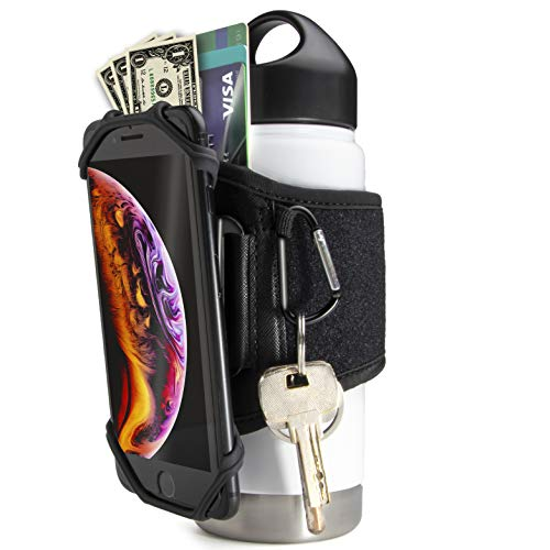 Gym Water Bottle Pouch - Water Bottle Strap 18-40oz Gym Bottles, Water Bottle Holder for Walking, Sport Water Bottle Sleeve FITWALLET Running Phone Holder, Cell Phone Card Holder Water Bottle Carrier