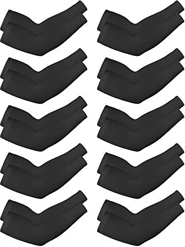 10 Pairs Cooling Sun Sleeves UV Protection Arm Sleeves Arm Cover Sleeve for Men Women (Black, Knitted Ice Silk)